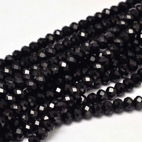 Stikliniai karoliukai . Juodos spalvos su blizgesiu, rondelės formos, kaina - 1,6 Eur už 1 gija