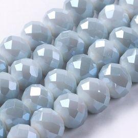 Stikliniai karoliukai . Šviesiai pilkos spalvos su blizgesiu, rondelės formos, kaina - 2,8 Eur už 1 gija