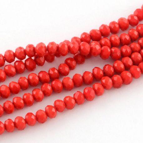 Stikliniai karoliukai . Ryškiai raudonos spalvos su blizgesiu, rondelės formos, kaina - 2,8 Eur už 1 gija