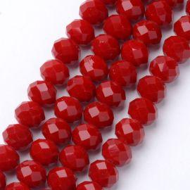 Stikliniai karoliukai . Raudonos spalvos su spalvos blizgesiu, rondelės formos, kaina - 2,8 Eur už 1 gija
