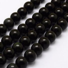 Natūralūs žaliojo obsidiano karoliukai . Juodos spalvos su žalios spalvos blizgesiu, apvalios formos, kaina - 7,01 Eur už 1 gija
