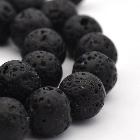 Natūralūs lavos karoliukai . Juodos spalvos, apvalios formos, kaina - 2,8 Eur už 1 gija