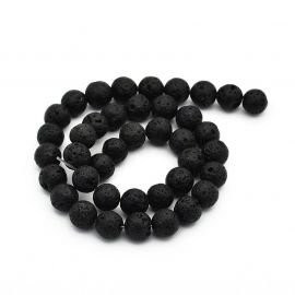 Natural Lava beads, 10 mm., 1 strand