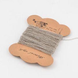 Grandinėlė naudojama rankdarbiams, suvenyrams gaminti, dekoruoti, 3.00 mm, 3x2x0,5 mm dydžio, 1 ritinėlis