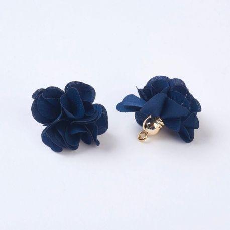 Dekoratyvinė medžiaginė gėlytė su akriline kepurėle. Tamsiai mėlynos spalvos dydis 25-30x28 mm