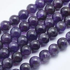 Natūralūs ametisto karoliukai. Tamsiai violetinės spalvos dydis 8 mm