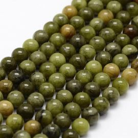Natural Jade beads, 6 mm., 1 strand