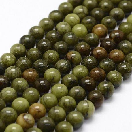 Natūralūs nefrito karoliukai. Samaninės žalios (chaki) spalvos dydis 8 mm