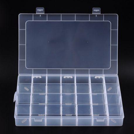 Dėžutė karoliukams, akmenėliams, biriems produktams. 24 skyreliais, borteliai išsiema, dydis 347x218x45 mm