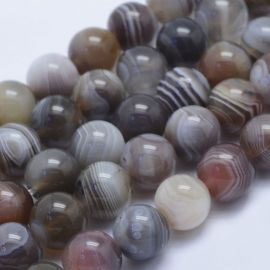 Natūralūs Botsvanos agato karoliukai, 10 mm., 1 gija