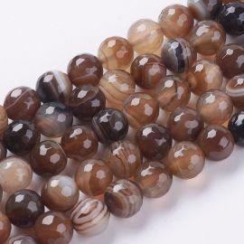 Natūralūs juostinio Agato karoliukai, 10 mm., 1 gija