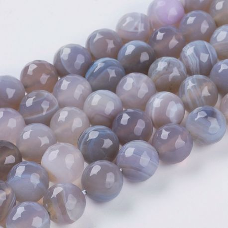 Natūralūs agato karoliukai, 10 mm., 1 gija