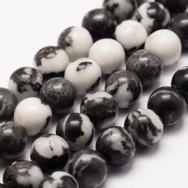 Natural beads of zebra Jaspi, 10 mm., 1 thread
