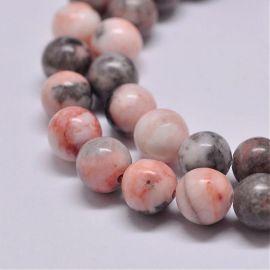 Natural beads from zebra jaspi, 8-9 mm., 1 thread