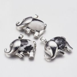 "Natūralaus Zebra Jasper pendant ""Drambliukas"", 29x37x10 mm., 1 pc"