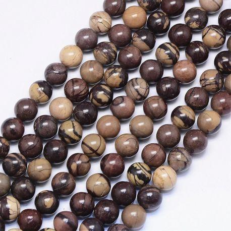 Natūralūs zebrinio Jaspio karoliukai. Rudos-smėlio spalvos dydis 10 mm