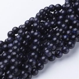 Synthetic Beads of the Night of Cairo. Dark blue with sheen size 8 mm