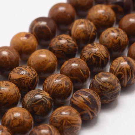 Natūralūs Jaspio karoliukai, 10 mm., 1 gija