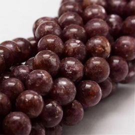 Natural Lepidolite beads, 8 mm., 1 strand