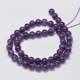 Natural Amethyst beads, 8 mm., 1 strand