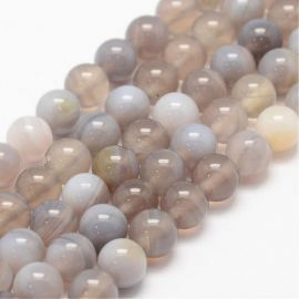 Natural juostinio Agate beads, 8 mm., 1 strand