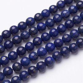 Natūralūs Lapis Lazuli karoliukai, 6 mm., 1gija