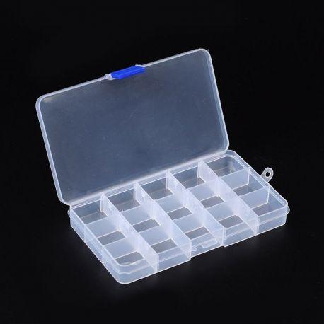 Dėžutė karoliukams, biriems produktams, akmenėliams, su skyreliais, borteliais išsiima, dydis 180x100x25 mm