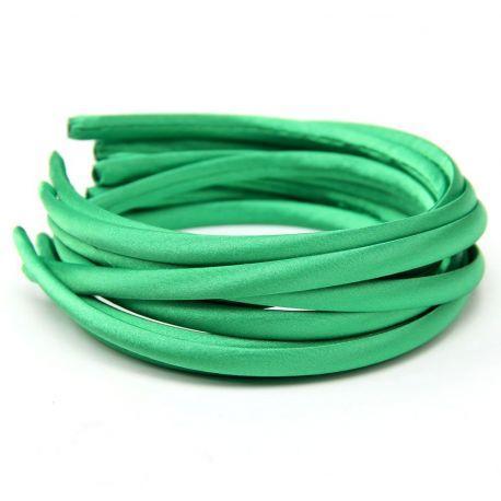 Lankelis plaukams, aptrauktas satinu, žalios spalvos 1 vnt., rankdarbiams, aksesuaras