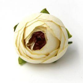 Dekoratyvinė medžiaginė gėlytės skirta papuošalų, rankdarbių gamyboje. Baltai gelsvos spalvos, dydis apie 30 mm