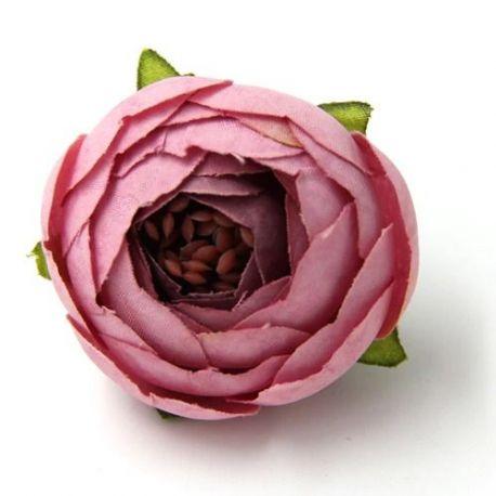 Dekoratyvinė puošni medžiaginė gėlytė, rožinės spalvos 30 mm