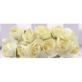 Popierinės dekoratyvinės rožytės skirta papuošalų, rankdarbių gamyboje. Gelsvos spalvos