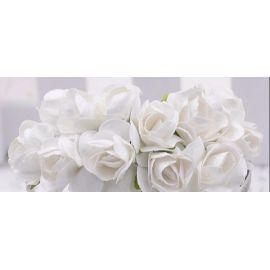Popierinės dekoratyvinės rožytės, baltos spalvos 10 mm