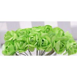 Popierinės dekoratyvinės rožytės skirta papuošalų, rankdarbių gamyboje. Žalios spalvos,
