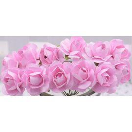 Popierinės dekoratyvinės rožytės, rožinės spalvos 10 mm