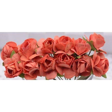 Popierinės dekoratyvinės rožytės skirta papuošalų, rankdarbių gamyboje. Oranžinės spalvos,