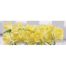 Popierinės dekoratyvinės rožytės skirta papuošalų, rankdarbių gamyboje. Geltonos spalvos