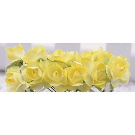 Popierinės dekoratyvinės rožytės, geltonos spalvos 10 mm