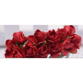 Popierinės dekoratyvinės rožytės, raudonos spalvos 10 mm