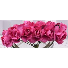 Popierinės dekoratyvinės rožytės skirta papuošalų, rankdarbių gamyboje. Tamsiai rožinės spalvo