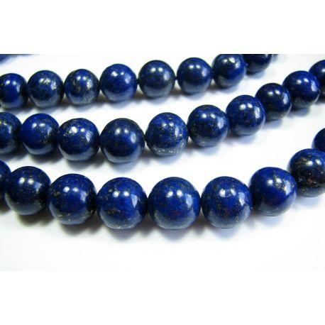 Lapis Lazuli karoliukų gija, tamsiai mėlynos spalvos, A klasės apvalios formos 10mm