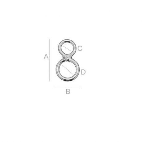 Užbaigimo elementas - dviejų dalių uždari žiedeliai 925. Sidabro spalvos dydis 7,2x4 mm