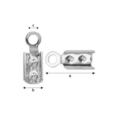 Užspaudžiamas antgaliukas virvutei 925, 10,3x3,75x1,90 mm 4 vnt.