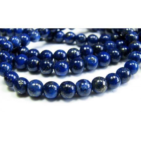 Lapis Lazuli karoliukai tamsiai mėlynos spalvos, A klasės apvalios formos 4 mm