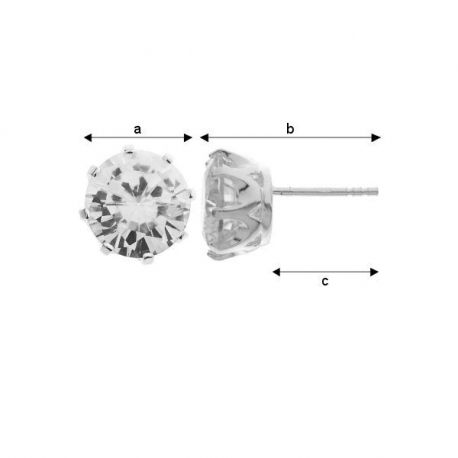 Auskarai 925 su Cirkonio 9 mm akute. Sidabro spalvos dydis 9x17x11 mm