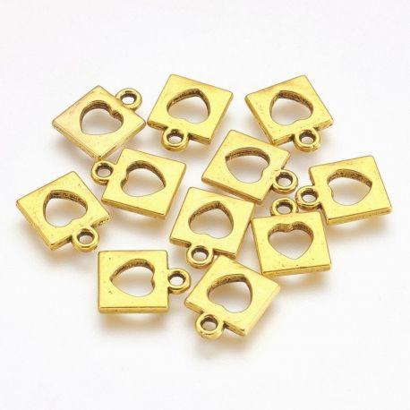 """Pakabukas """"Spynelė"""". Sendintos aukso spalvos dydis 14x11x2 mm rankdarbiams"""