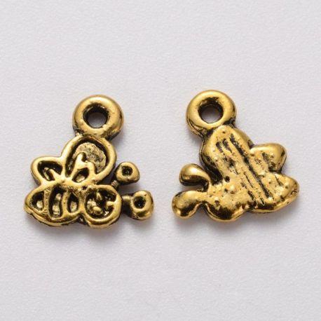 """Pakabukas """"Bitutė"""". Sendintos aukso spalvos dydis 10x9x1 mm"""