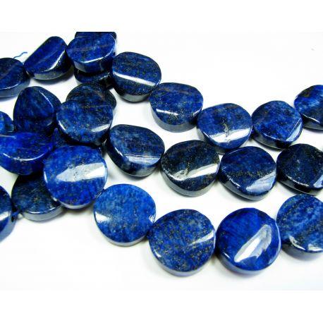 Lapis Lazuli karoliukų gija, tamsiai mėlynos spalvos, monetos formos, nuleistais kraštais, apie 18 mm dydžio