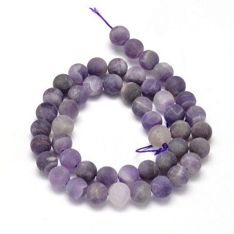Natūralaus Ametisto karoliukai. Violetinės spalvos dydis 8 mm