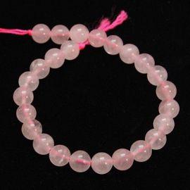 Rožinio kvarco karoliukai, 6 mm, 1 gija