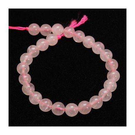 Rožinio kvarco karoliukai. Šviesiai rožinės spalvos dydis 6 mm